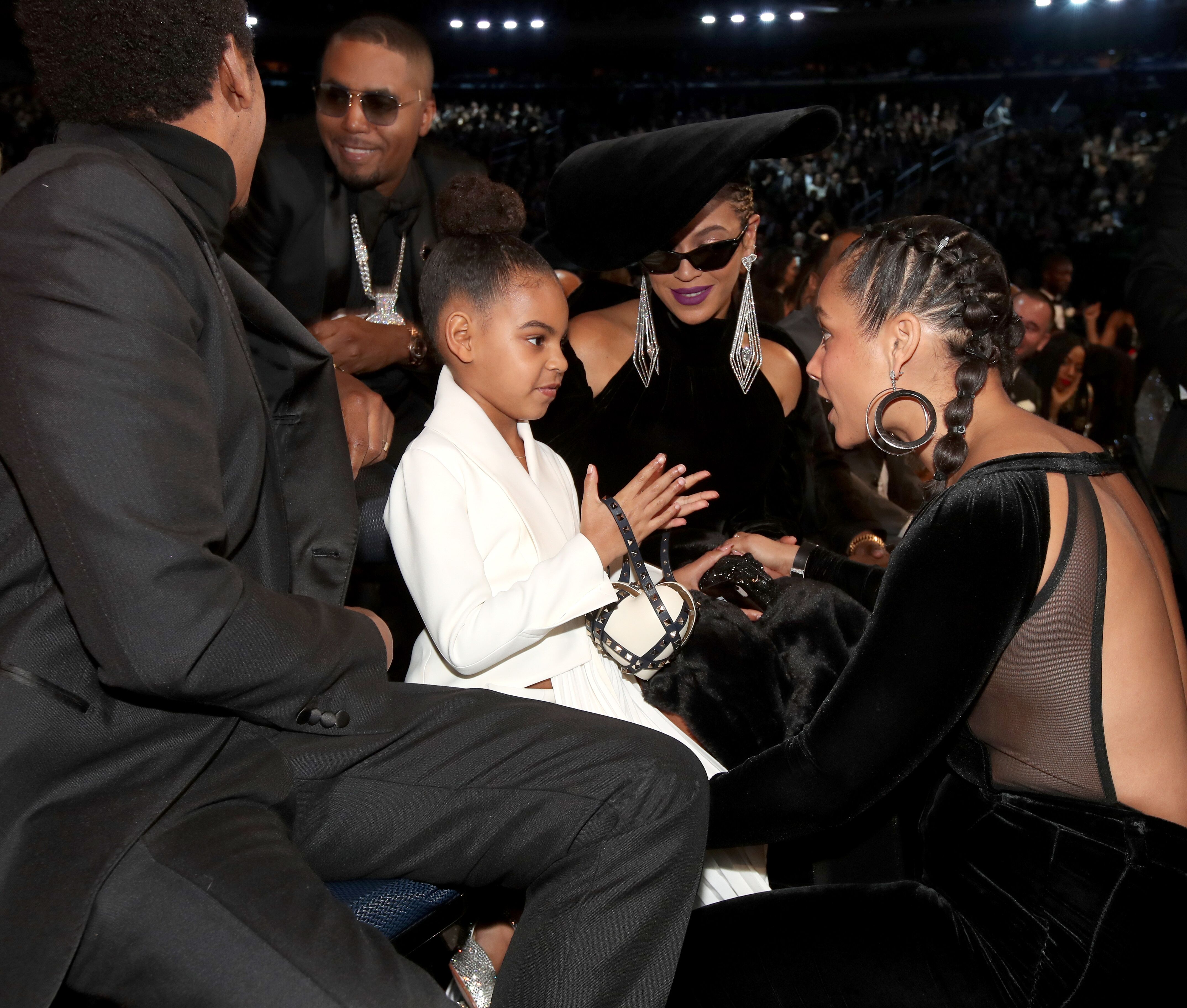 Blue Ivy meets Alicia Keys, alon with her parents Beyoncé and Jay Z  at the 60th Annual GRAMMY Awards in New York in 2018 | Source Getty Images