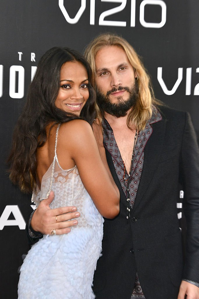 "Zoe Saldana and Marco Perego arrive at the premiere for ""Star Trek Beyond"" on July 20, 2016 in San Diego, California 