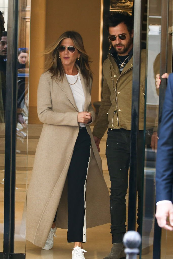 Jennifer Aniston and Justin Teroux are seen leaving the 'CHANEL Rue Cambon' store on April 12, 2017 in Paris, France | Getty Images