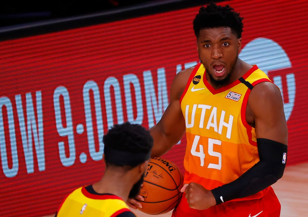 Donovan Mitchell #45 of the Utah Jazz celebrates a win against the Denver Nuggets on August 23, 2020. | Photo: Getty Images