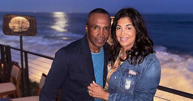 Sugar Ray Leonard Poses with His Love Bernadette in Front of Raging Sea Waves
