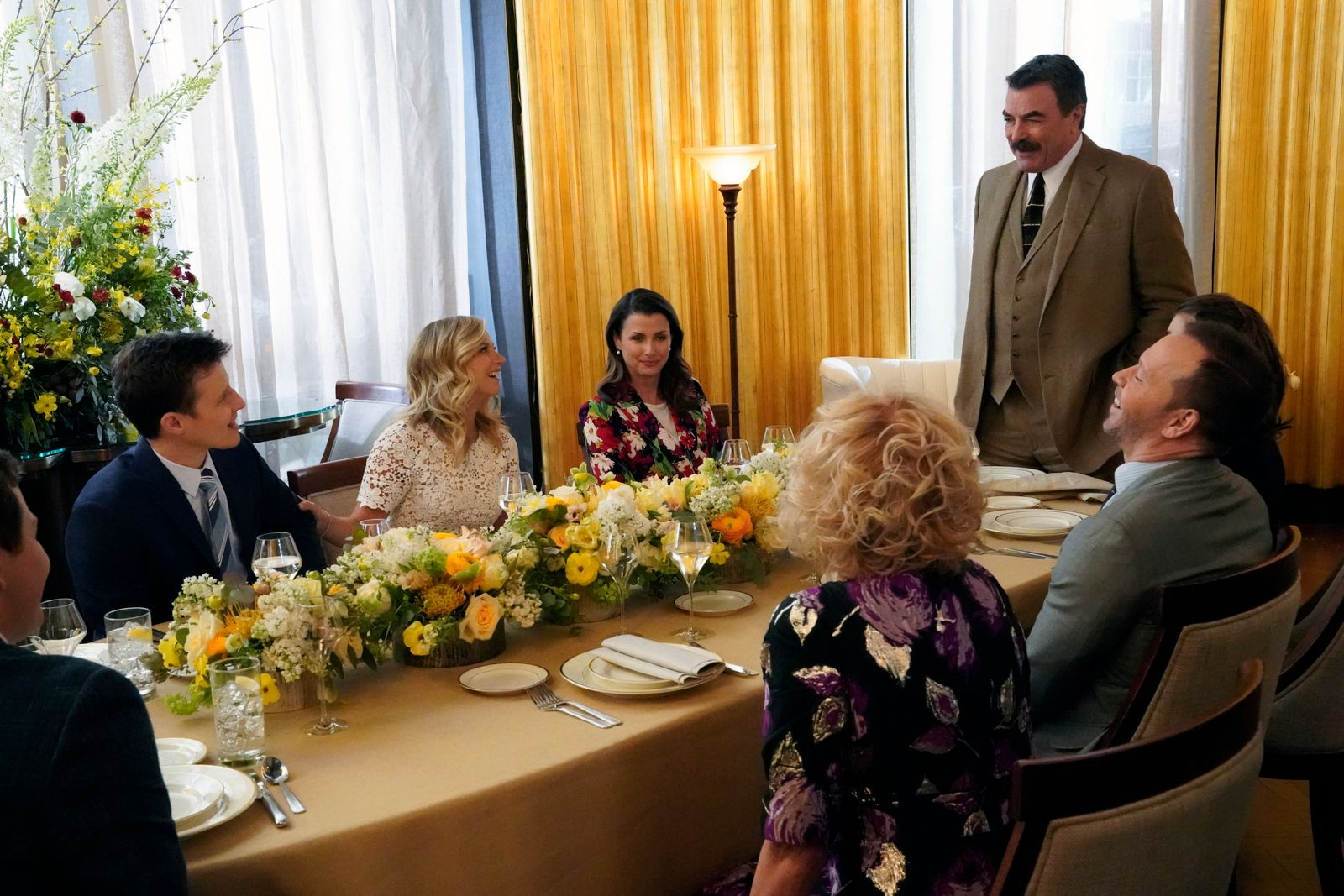 """The cast of """"Blue Bloods"""" on set on April 02, 2019. 