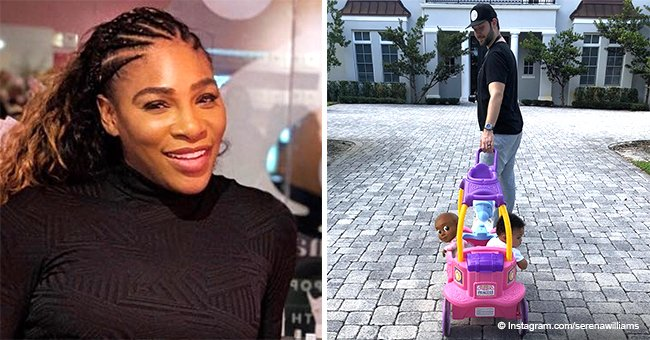 Serena Williams' husband melts hearts, pulling baby Olympia around in a princess carriage