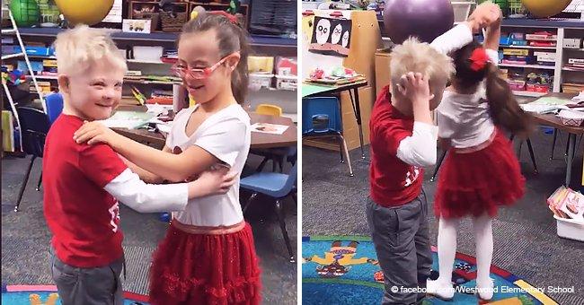 Adorable video de 2 tórtolos con síndrome de Down bailando en la escuela en San Valentín