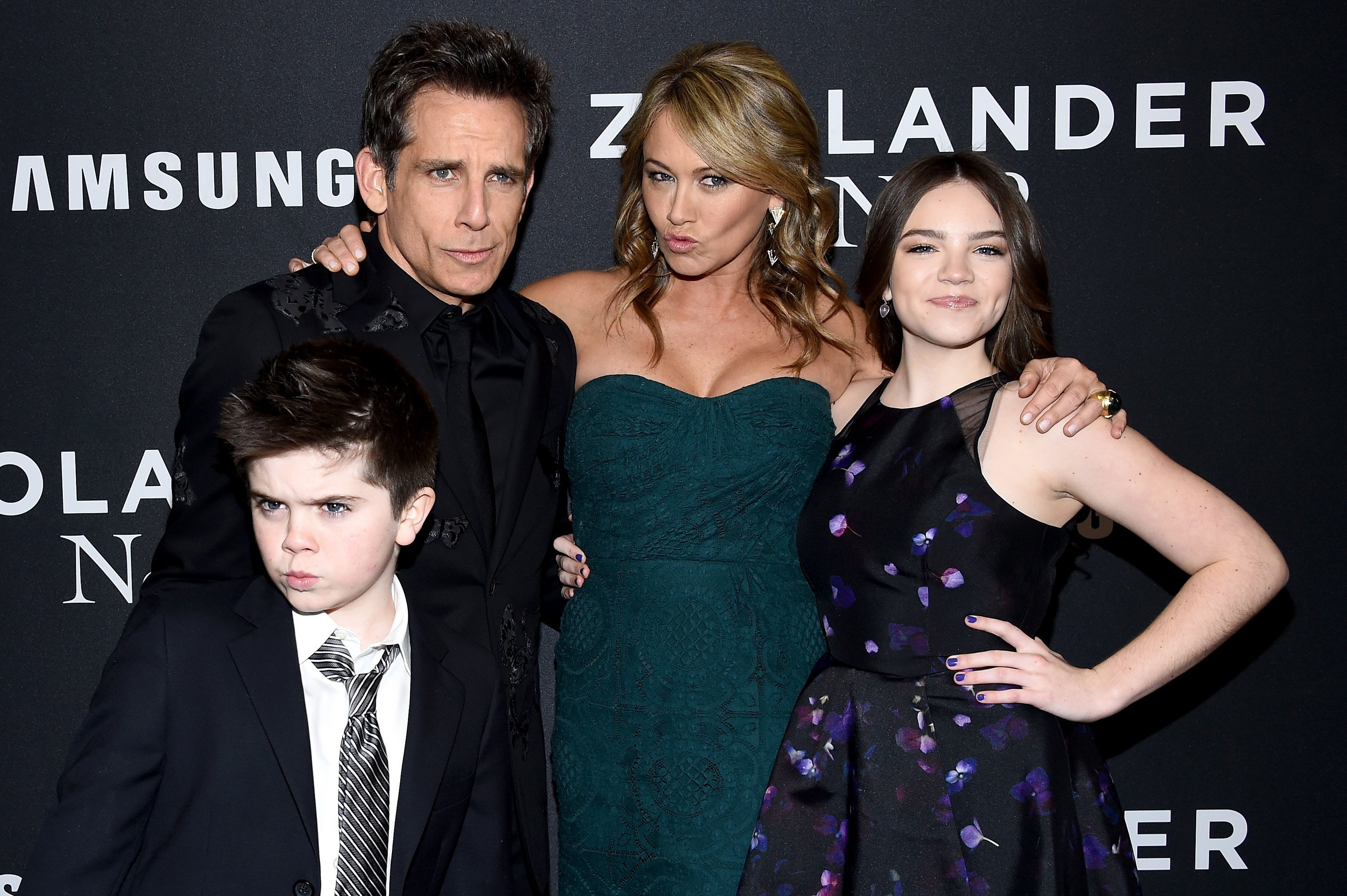"Quinlin Stiller, Ben Stiller, Christine Taylor and Ella Stiller attend the ""Zoolander 2"" World Premiere at Alice Tully Hall on February 9, 2016, in New York City. 