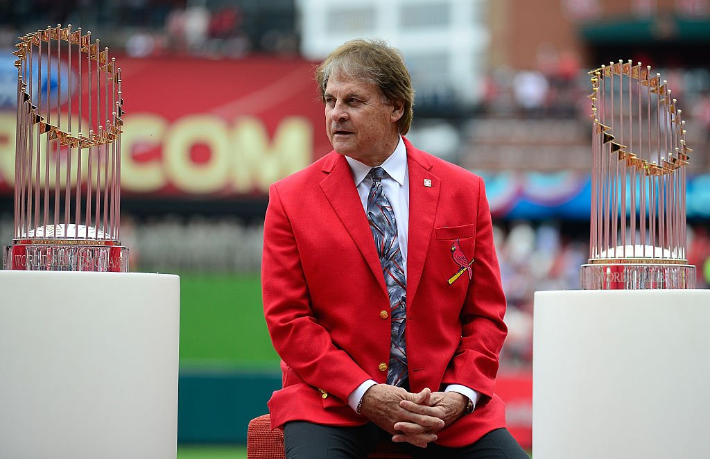 Tony La Russa during the opening day ceremony before a game against the Milwaukee Brewers at Busch Stadium on April 13, 2015   Photo: Getty Images