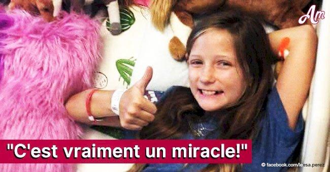 """La tumeur cérébrale inopérable d'une fillette de 11 ans """"disparaît"""" miraculeusement avant Noël"""