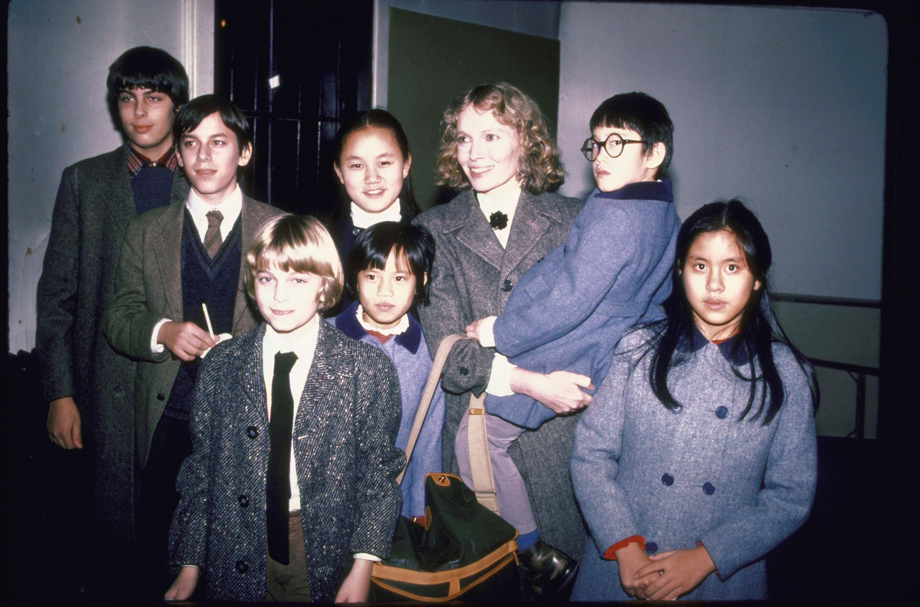 Mia Farrow and children, including daughter Soon Yi Previn on January 01, 1991   Photo: Getty Images