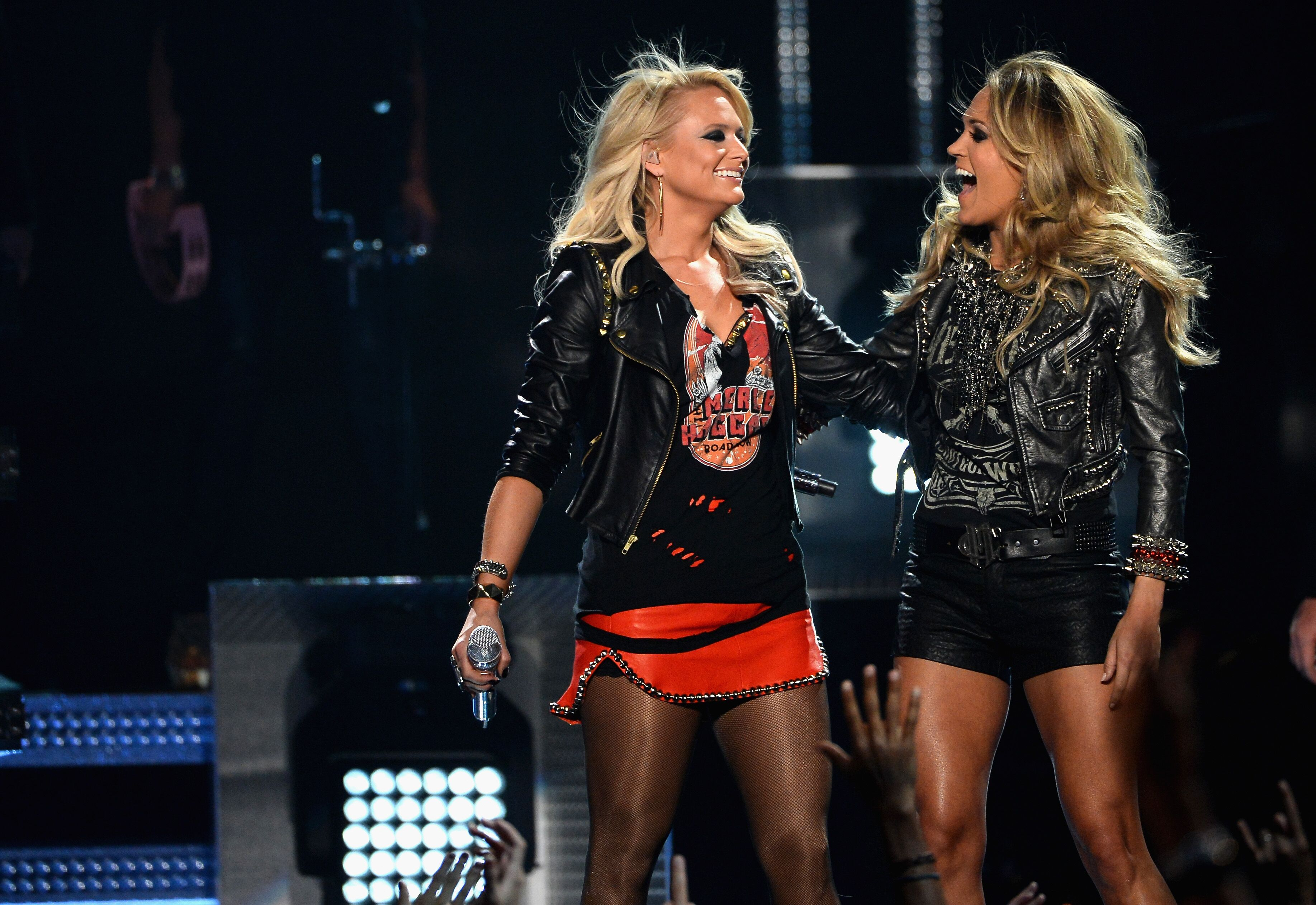 Miranda Lambert and Carrie Underwood perform onstage at the Billboard Music Awards in 2014, in Las Vegas | Source: Getty Images