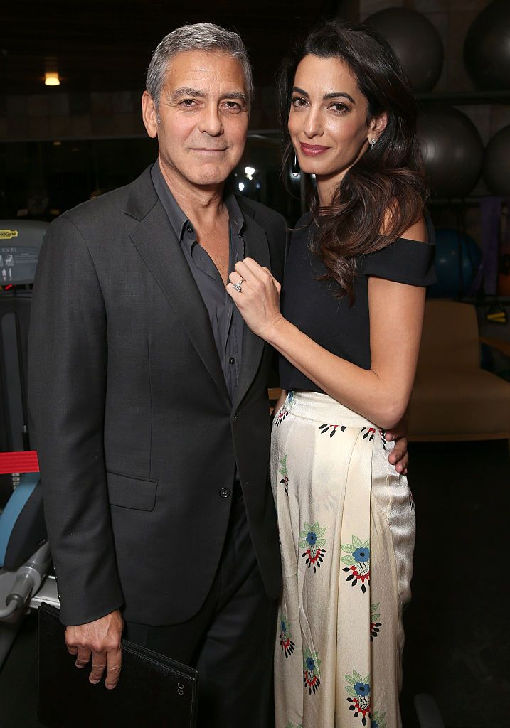 """George and Amal Clooney at the MPTF 95th-anniversary celebration with """"Hollywood's Night Under The Stars"""" on October 1, 2016. 