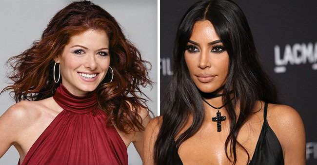"""Debra Messing as Grace Adler onthe """"Will & Grace"""" set on season 4 and Kim Kardashian atthe LACMA Art + Film Gala held at LACMA on November 3, 2018, in Los Angeles, California