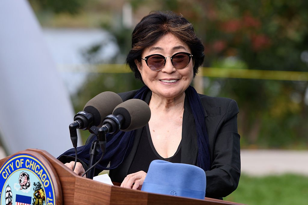 Yoko Ono at the Project 120 Skylanding art installation unveiling at Jackson Park on October 17, 2016 in Chicago, Illinois. | Photo: Getty Images