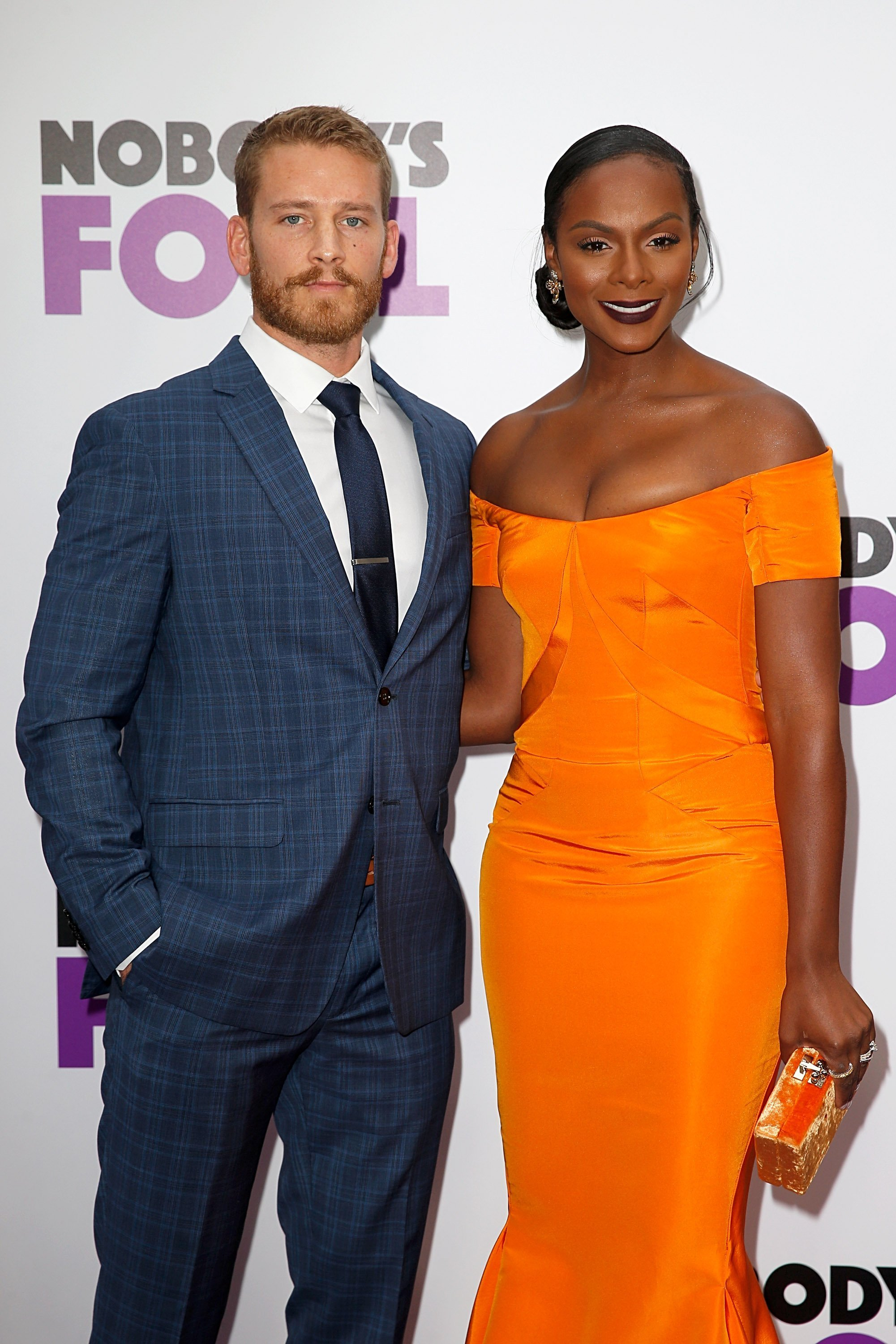"Nick James and Tika Sumpter at the premiere of ""Nobody's Fool"" in October 2018. 
