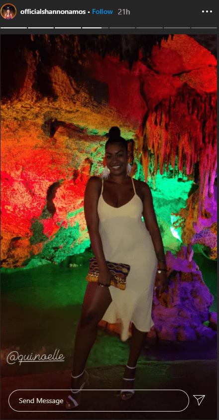Quiera Noelle in her radiant yellow thigh-high slit dress for her 29th birthday celebration.   Photo: instagram.com/officialshannonamos