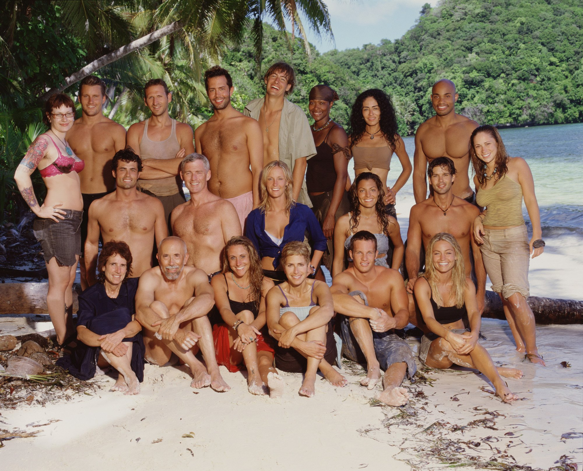 """Angie Jakusz on the back row with fellow castaways who participated in """"Survivor: Palau,"""" photo taken on October 30, 2004, at Kokor, Palau   Photo:Monty Brinton/CBS Photo Archive/Getty Images"""