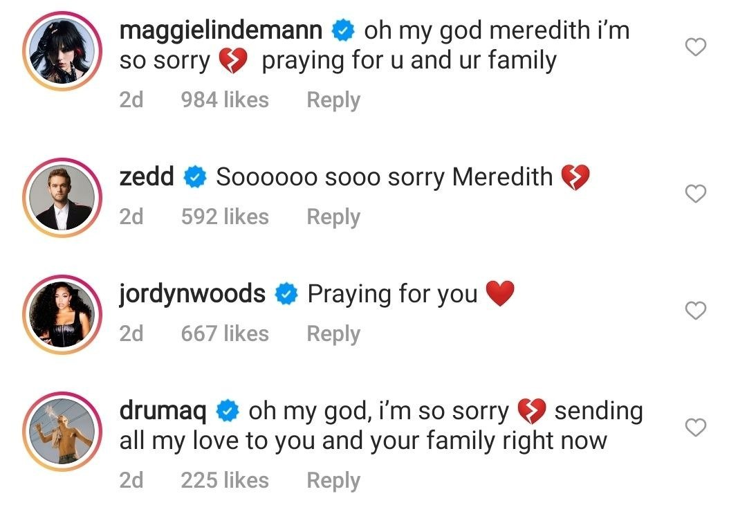 Jordyn Woods and other celebrities comment on Daniel Mickelson's death   Photo: Photo: Instagram/meredithmickelson