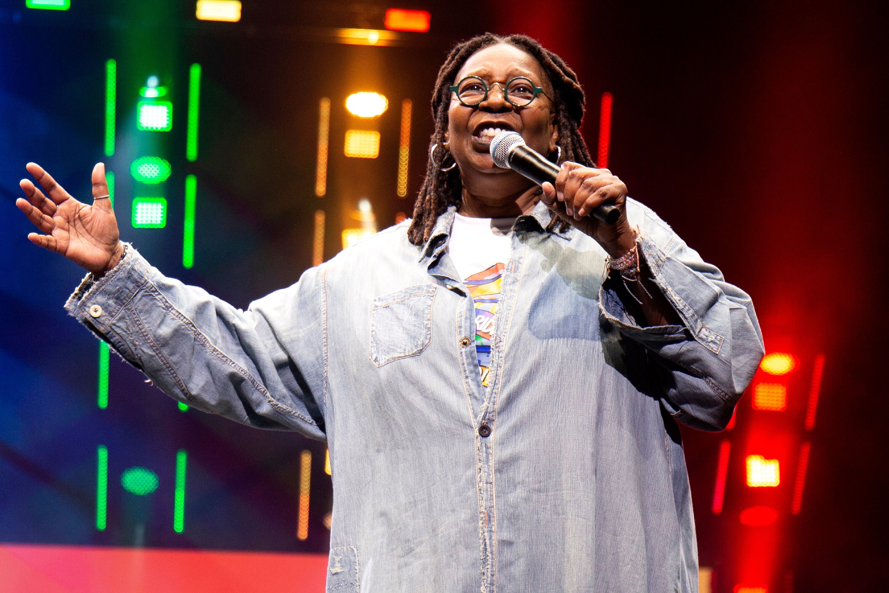 Whoopi Goldberg at one of her recent speaking engagements | Source: Getty Images/GlobalImagesUkraine