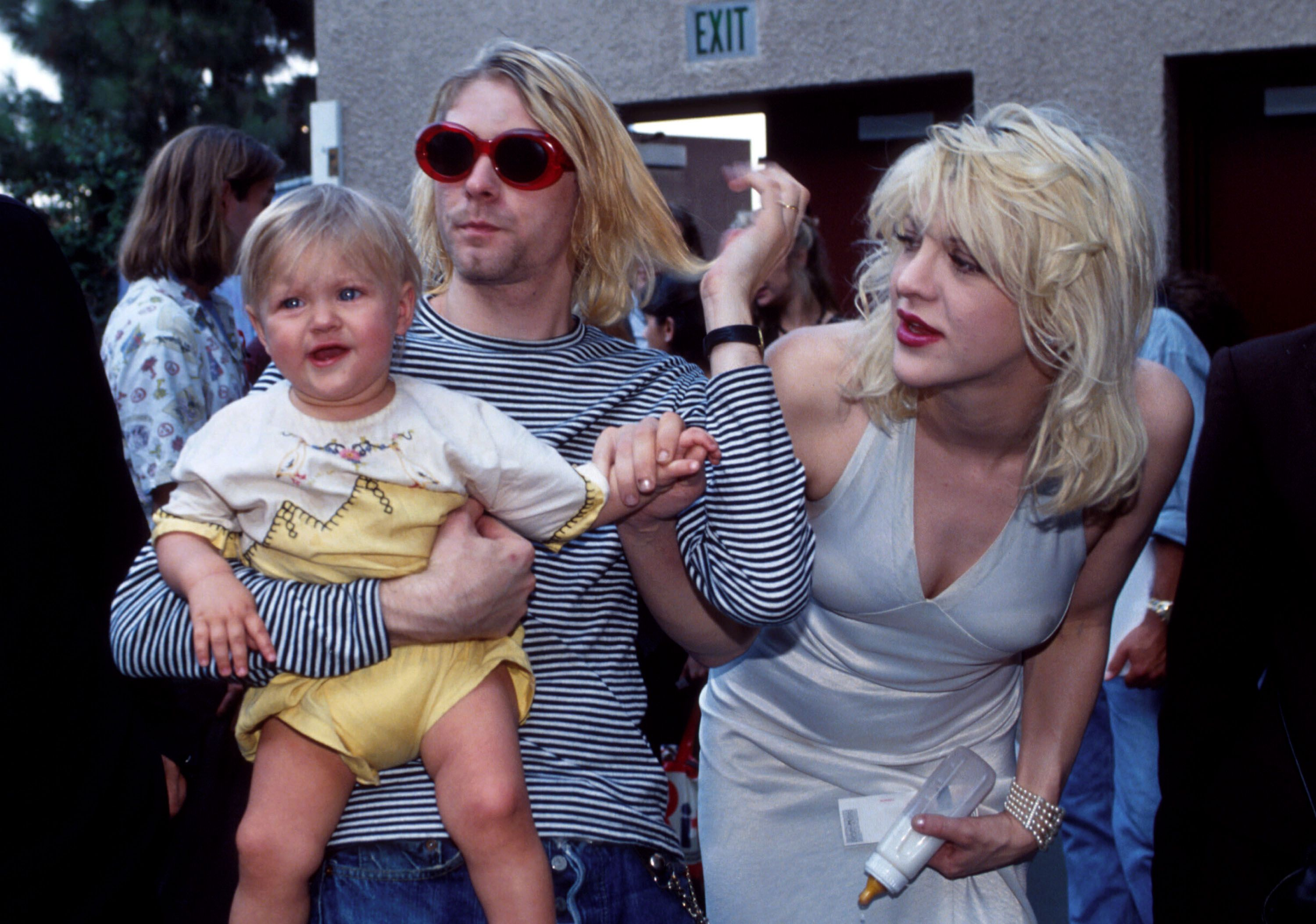 Kurt Cobain of Nirvana with Courtney Love and daughter Frances Bean Cobain at the MTV Video Music Awards  in 1993 in Universal City, California | Source: Getty Images