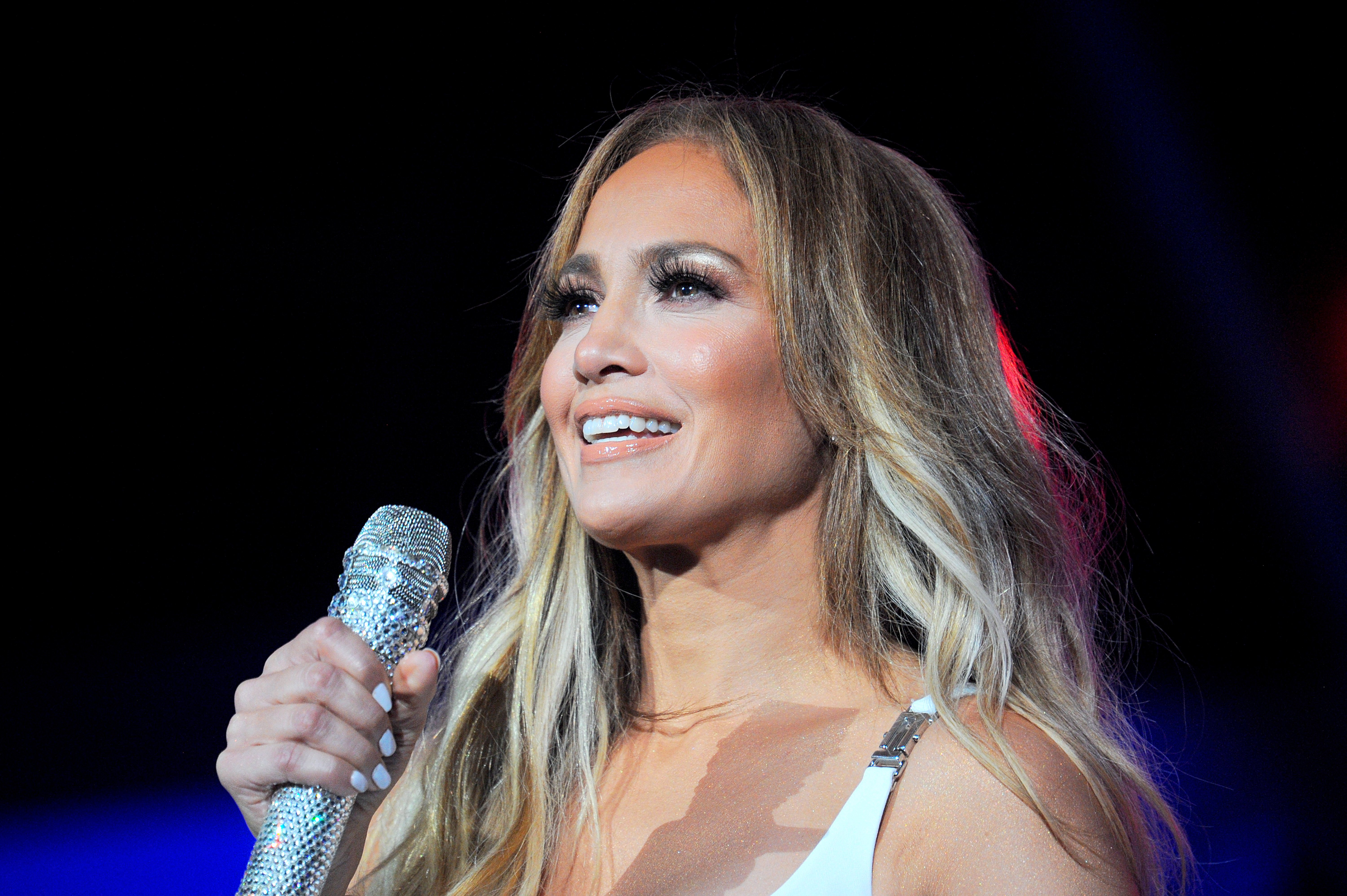 """Jennifer Lopez on stage at """"iHeartRadio Fiesta Latina"""" in Miami on 2 November, 2019. 