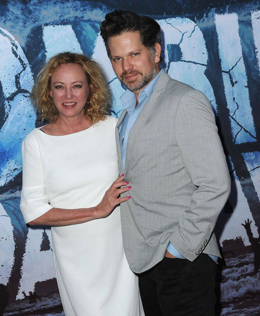 "Virginia Madsen and Nkick Holmes at the premiere of ""Zombie Tidal Wave""in 2019 in North Hollywood, California 