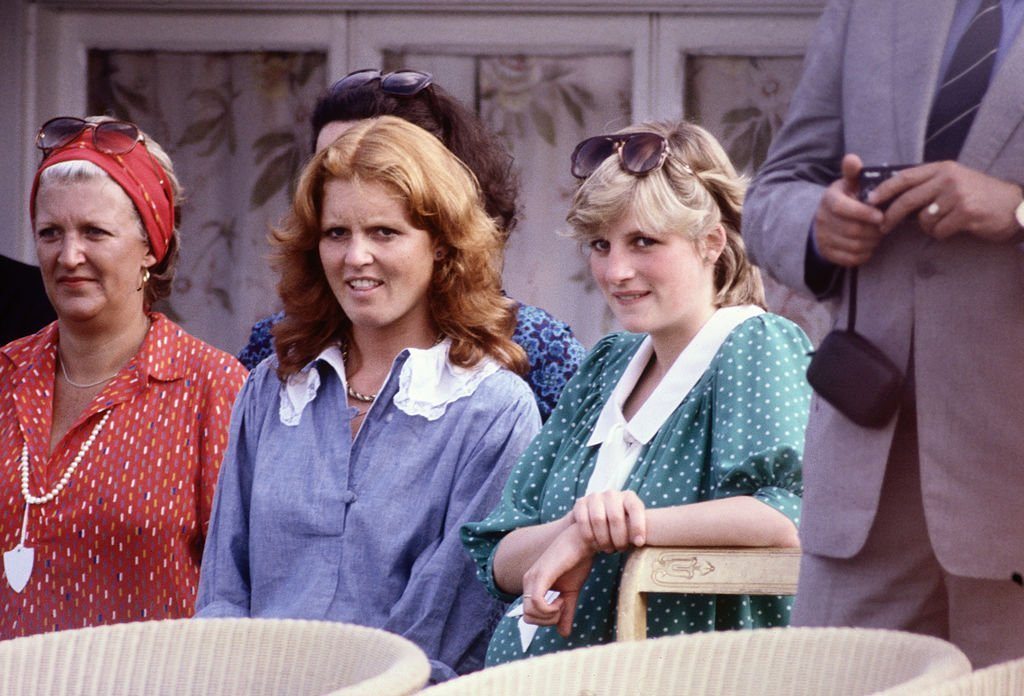 Diana Princess of Wales with Sarah Ferguson (later the Duchess of York) watches Prince Charles playing polo at Guards Polo Club on Smiths Lawn in June 1982 in Windsor, Berkshire. | Photo: GettyImages
