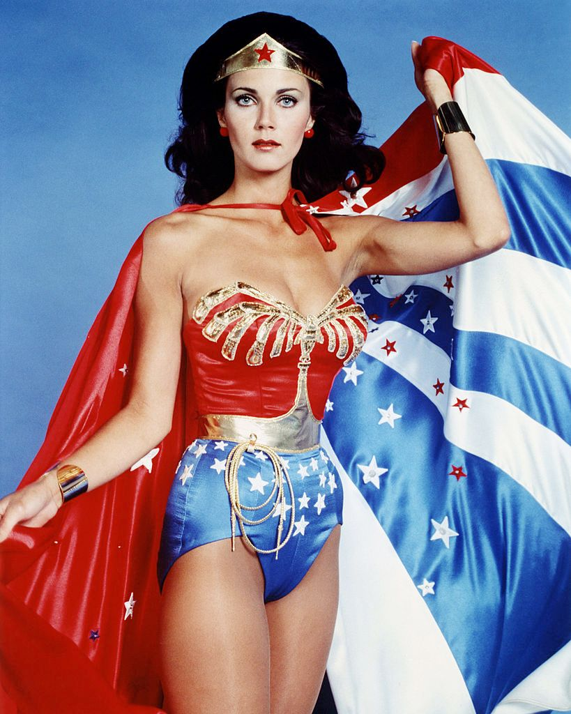 """Lynda Carter in costume for the 1977 TV series """"Wonder Woman""""   Source: Getty Images"""