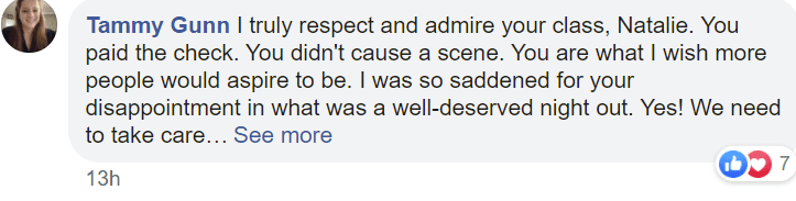 A user's comment on a restaurant that kicked a couple out for wearing mask for their baby. | Photo: Facebook.com/Natalie Wester Guerrero