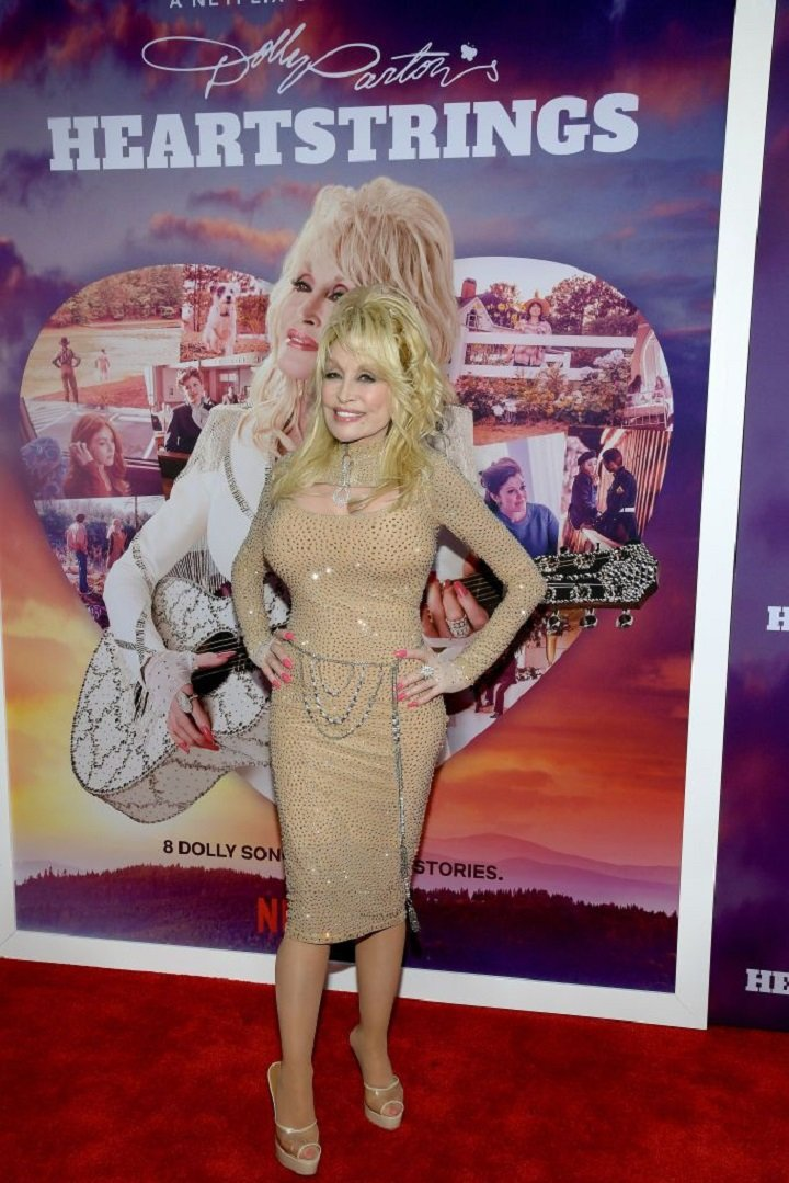 "Dolly Parton attending the Netflix Premiere of Dolly Parton's ""Heartstrings"" in Pigeon Forge, Tennessee in October 2019. 