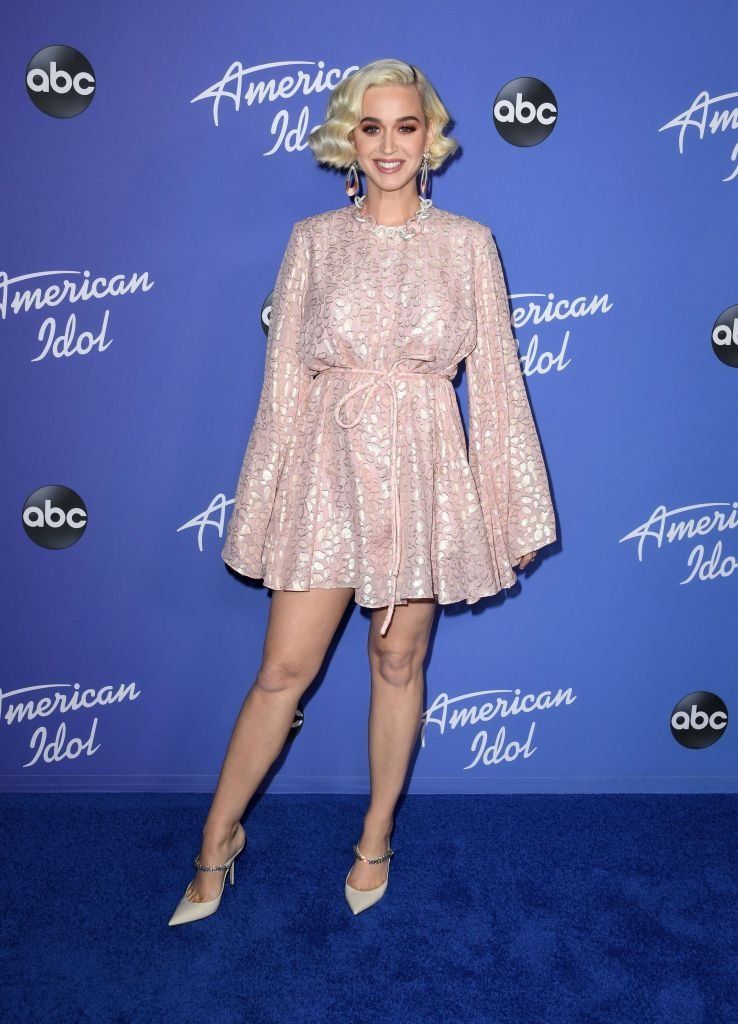 "Katy Perry attends arrives on the blue carpet for the premiere event for ""American Idol"" at the Hollywood Roosevelt Hotel on February 12, 2020, in Hollywood, California 