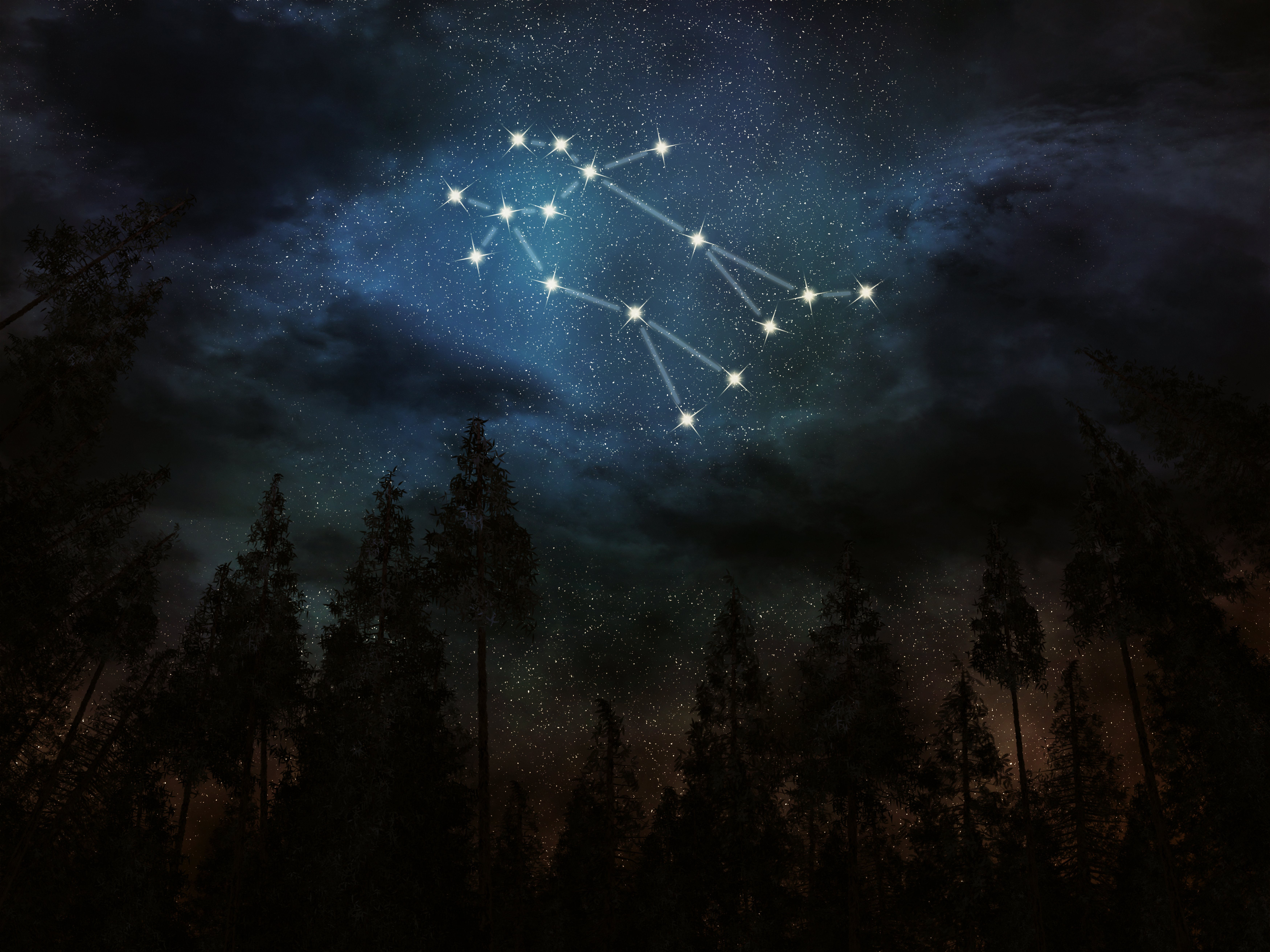An illustration of the Gemini constellation in the night sky | Source: Shutterstock