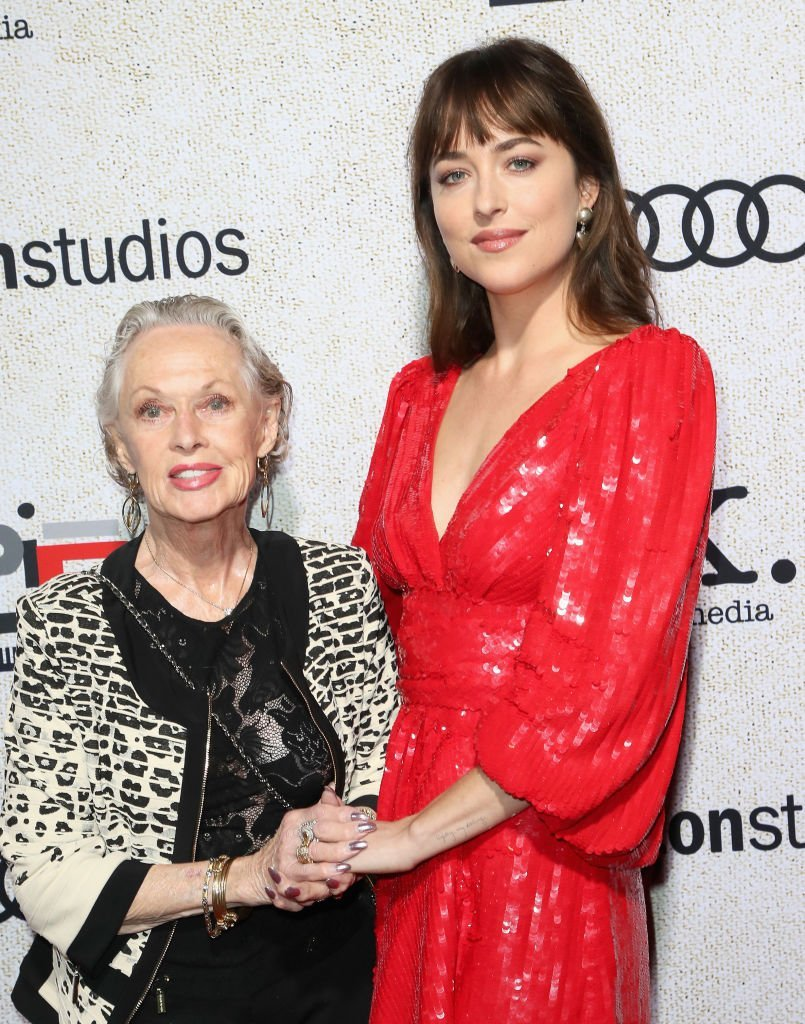"Tippi Hedren and granddaughter Dakota Johnson attend the premiere of ""Suspiria"" in Hollywood on October 24, 2018 