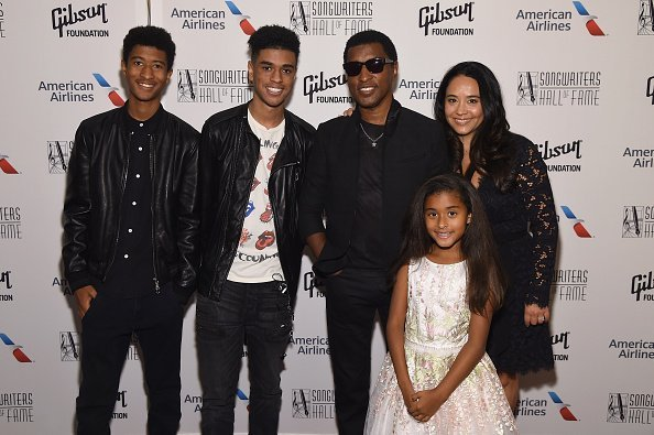 """Kenneth """"Babyface"""" Edmonds and his family pose backstage at the Songwriters Hall Of Fame 48th Annual Induction and Awards at New York Marriott Marquis Hotel on June 15, 2017 