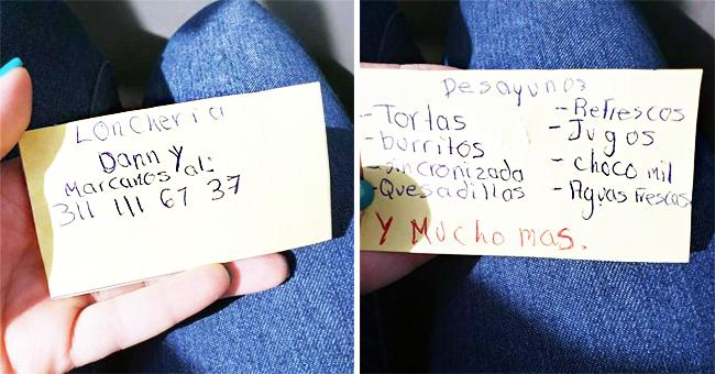 Niño hace tarjetas de presentación a mano para promover el negocio de su mamá