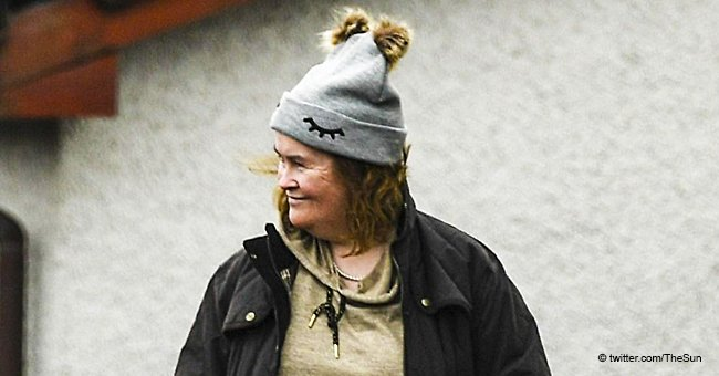 Susan Boyle who has an estimated net worth of $28M seen waiting for a bus after leaving AGT