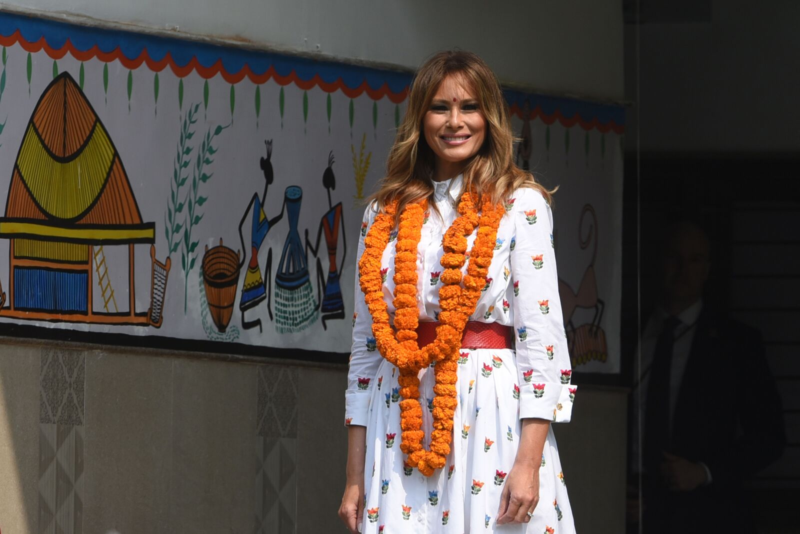 Melania Trump during an interaction with students of Sarvodaya Co-Educational Senior Secondary School at Moti Bagh on February 25, 2020, in New Delhi, India | Photo: Sanchit Khanna/Hindustan Times/Getty Images