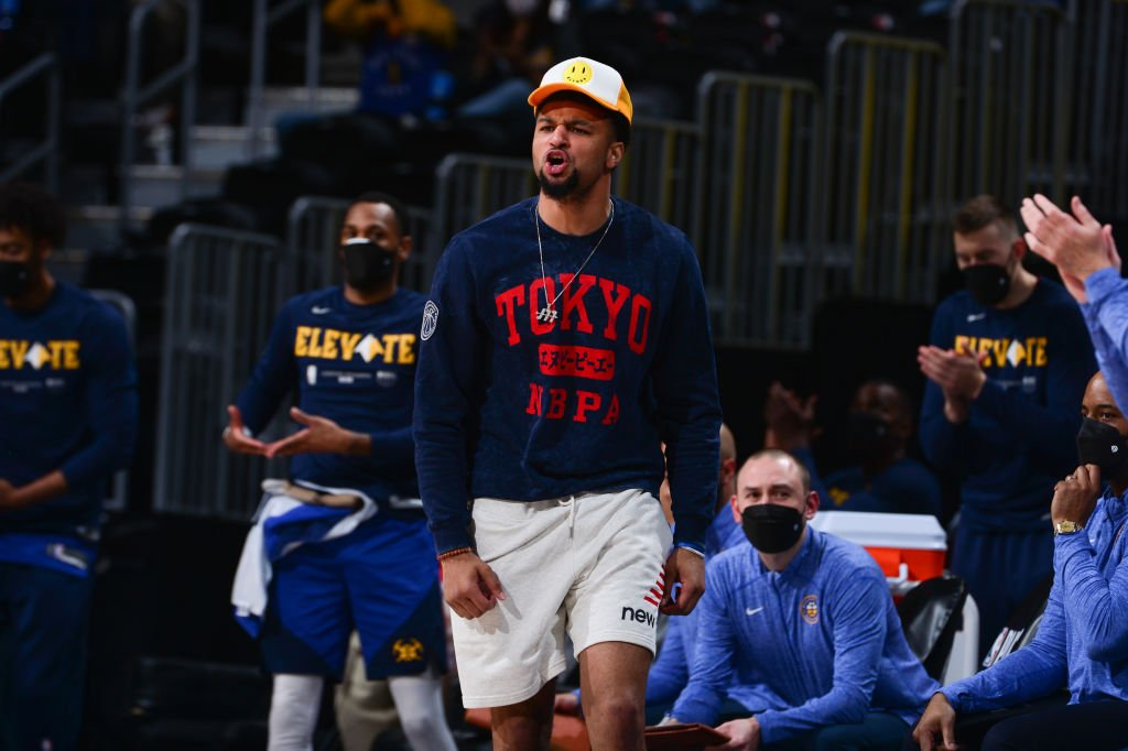 Jamal Murray #27 of the Denver Nuggets yells during the game against the Portland Trail Blazers at the 2021 NBA playoffs on May 22, 2021 at the Ball Arena in Denver, Colorado.