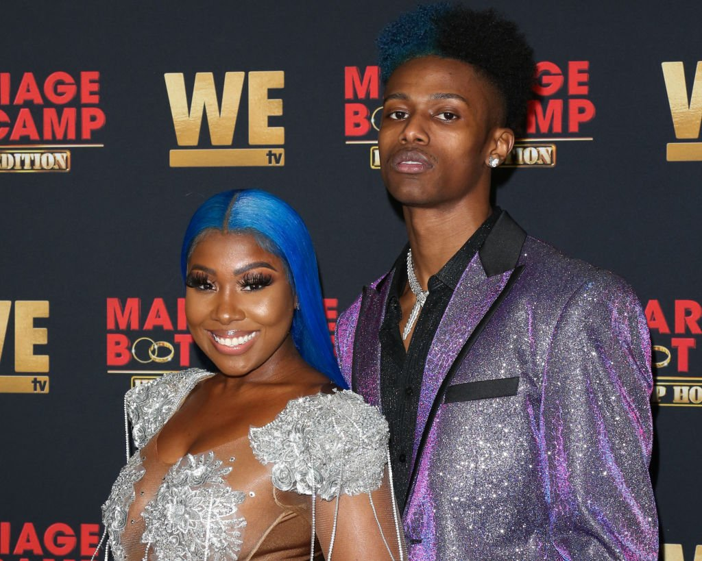"""Bianca Bonnie and rapper Chozus at the premiere of WE TV's """"Marriage Boot Camp: Hip Hop Edition"""" in February 2020. 