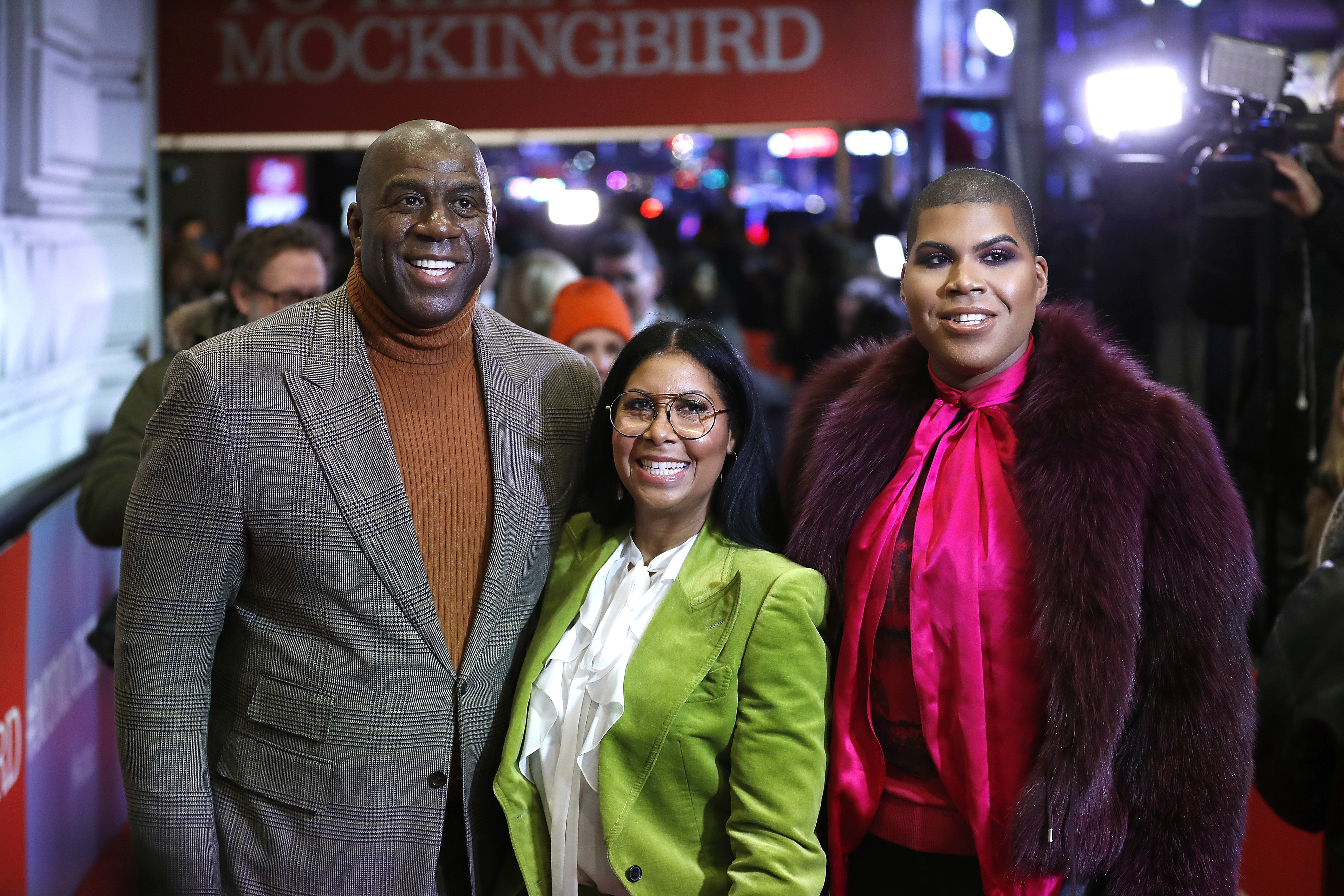 """Magic Johnson, Cookie Johnson and EJ Johnson attend """"To Kill A Mockingbird"""" Broadway Opening Night at Shubert Theatre on December 13, 2018.   Photo: Getty Images"""