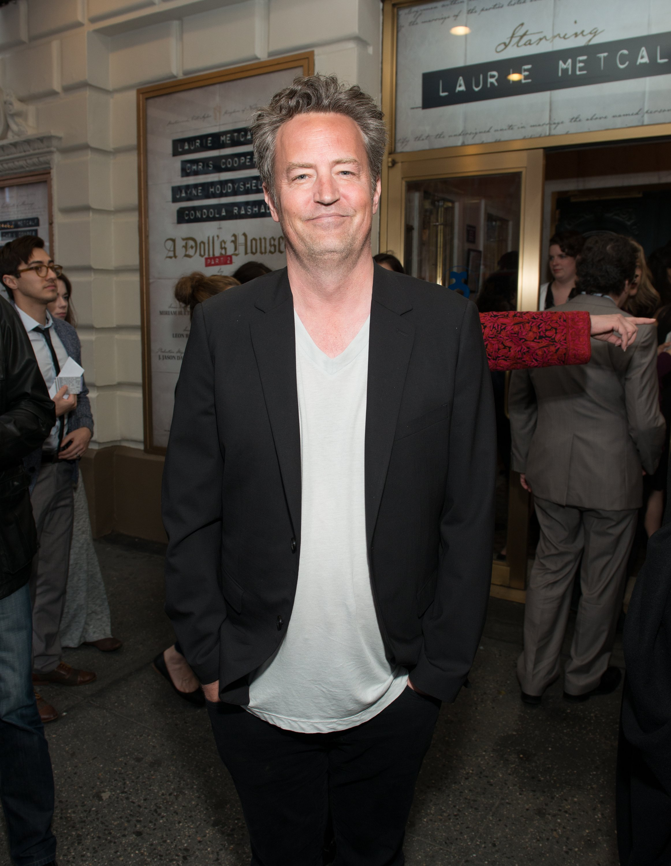 "Matthew Perry attends the opening night of ""A Doll's House, Part 2"" on April 27, 2017, in New York City. 