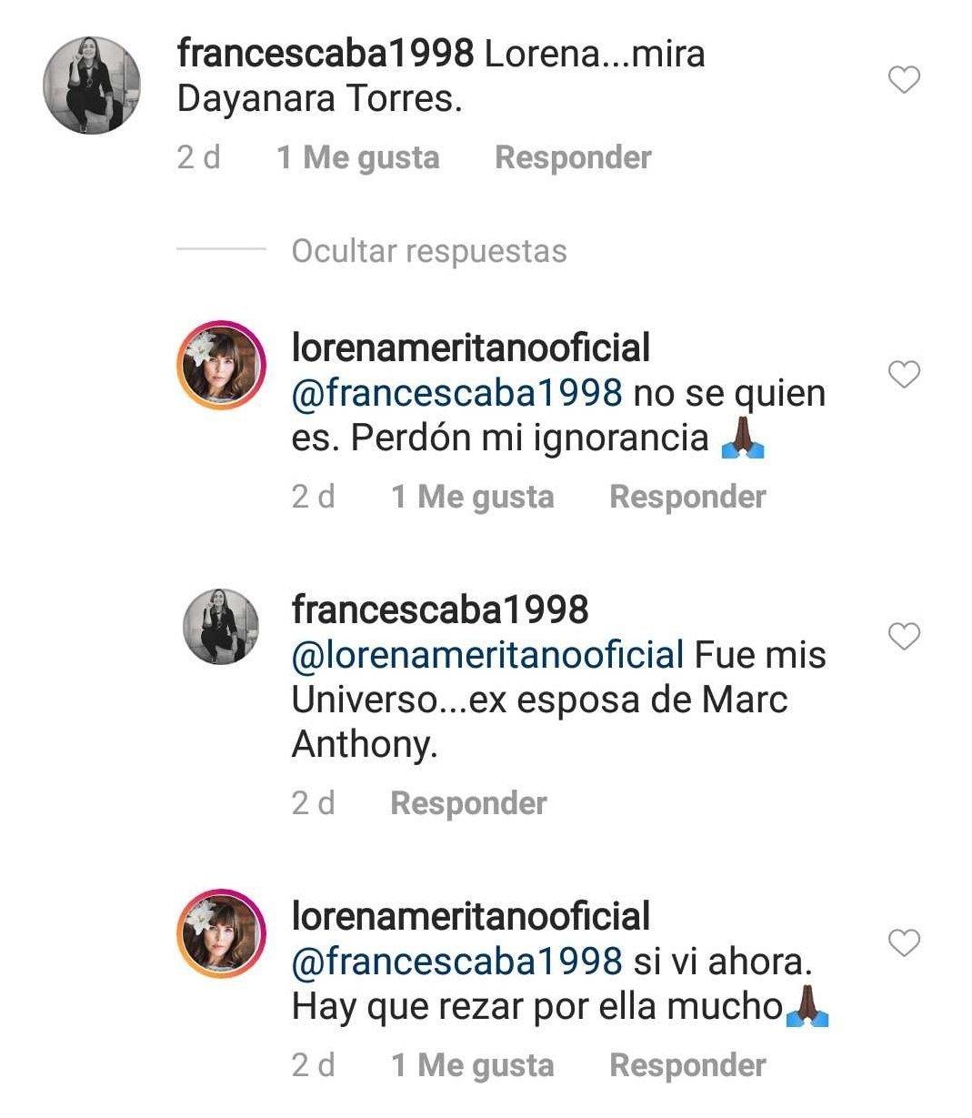 Lorena respondiendo a un fan, diciendo no conocer a Torres. | Imagen: Instagram / lorenameritanooficial