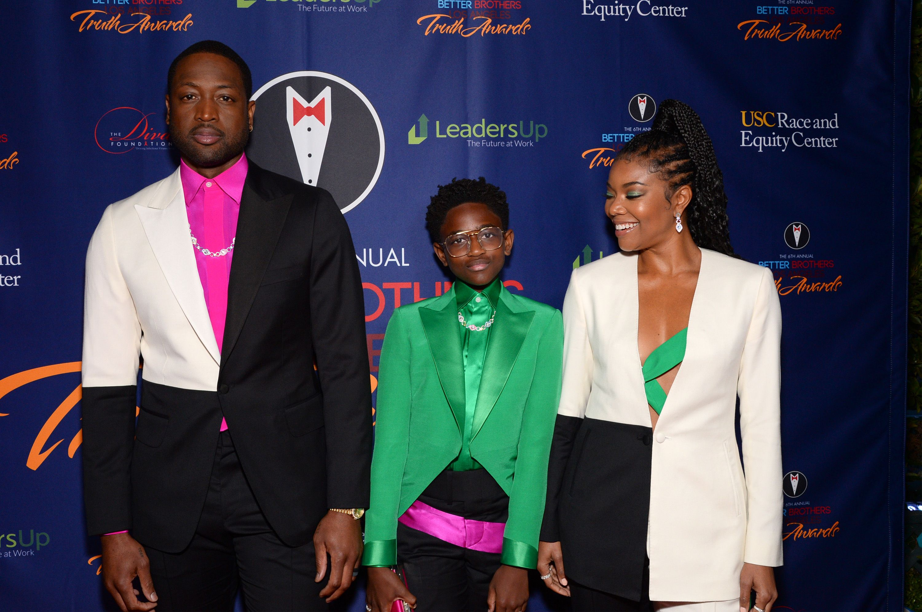 Dwyane and Zaya Wade with Gabrielle Union at the Los Angeles 6th annual Truth Awards on March 07, 2020 in California. | Photo: Getty Images