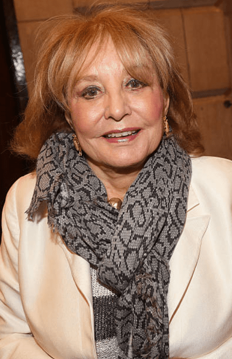 "Barbara Walters in one of her last public appearances as she poses at premiere show for the ""Fully Committed,"" on Broadway, on April 25, 2016, New York City 
