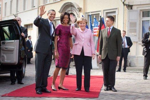 Präsident Obama, First Lady Michelle Obama, Bundeskanzlerin Angela Merkel und Ehemann Joachim Sauer | Quelle: Wikimedia Commons