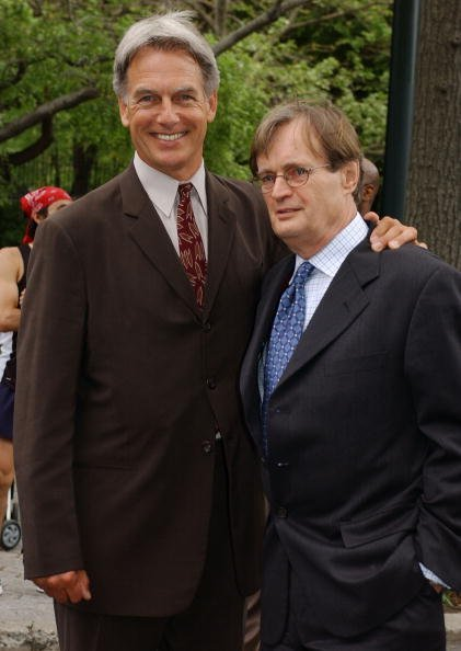 "Mark Harmon (L) and David McCallum arrive for the ""CBS Upfront Previews 2003-2004"" May 14, 2003, at Tavern on the Green in New York City. 