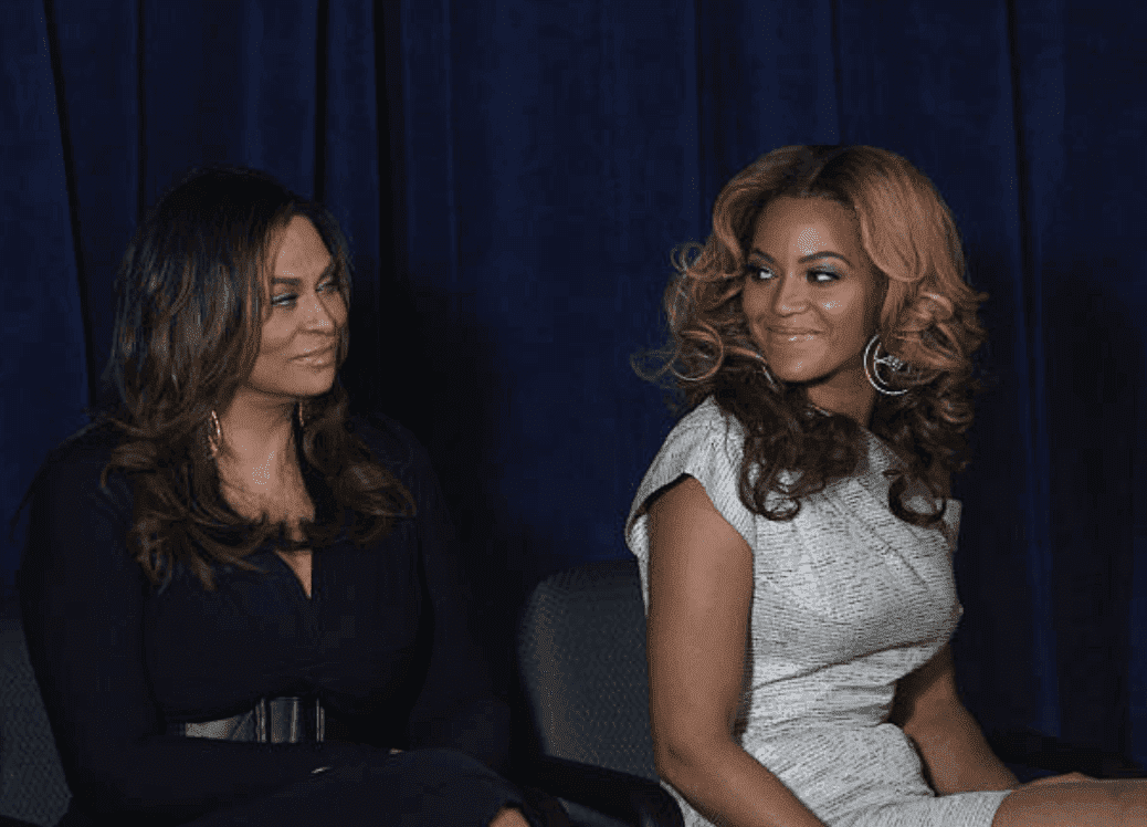 Beyoncé and her mother Tina Knowles speak on stage at the unveiling of the Beyoncé Cosmetology Center, on March 5, 2010, New York City | Source: Getty Images (Photo by Bennett Raglin/WireImage)