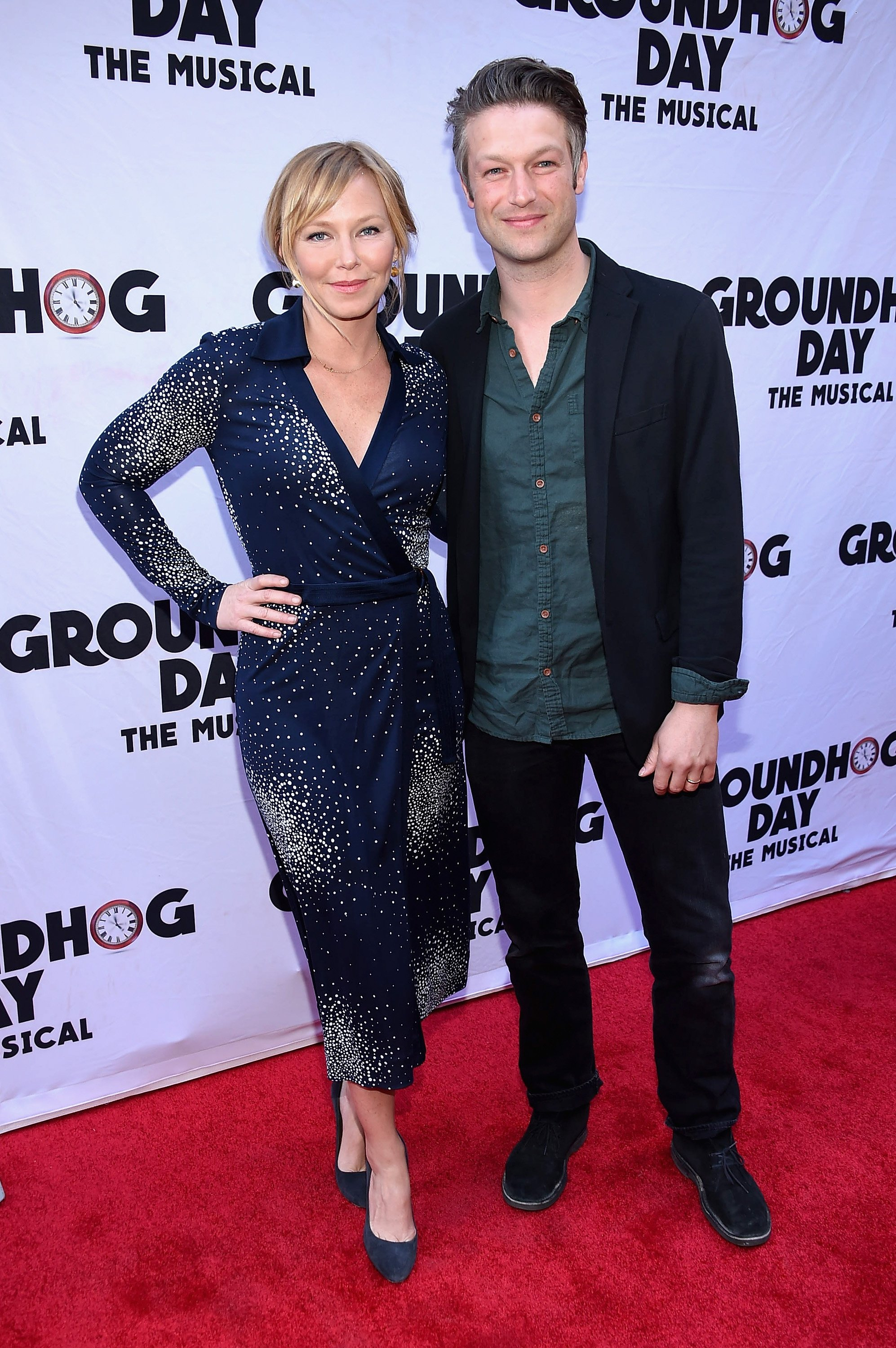 "Kelli Giddish and Peter Scanavino from ""Law & Order: SVU""  attend the ""Groundhog Day"" Broadway Opening Night on April 17, 2017 