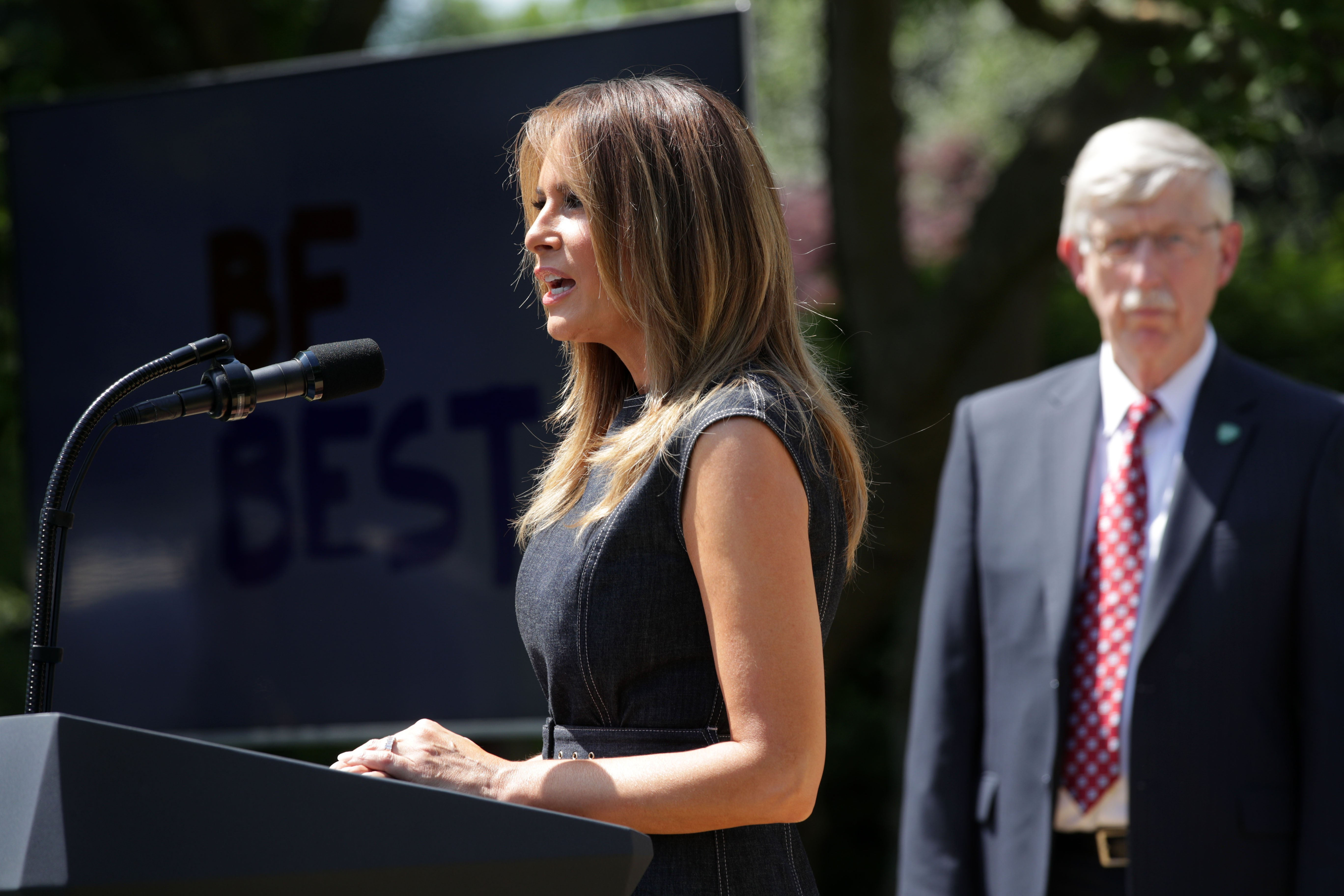Melania Trump delivering a speech during a Rose Garden event at the White House to celebrate the first birthday of the Be Best campaign | Photo: Getty Images