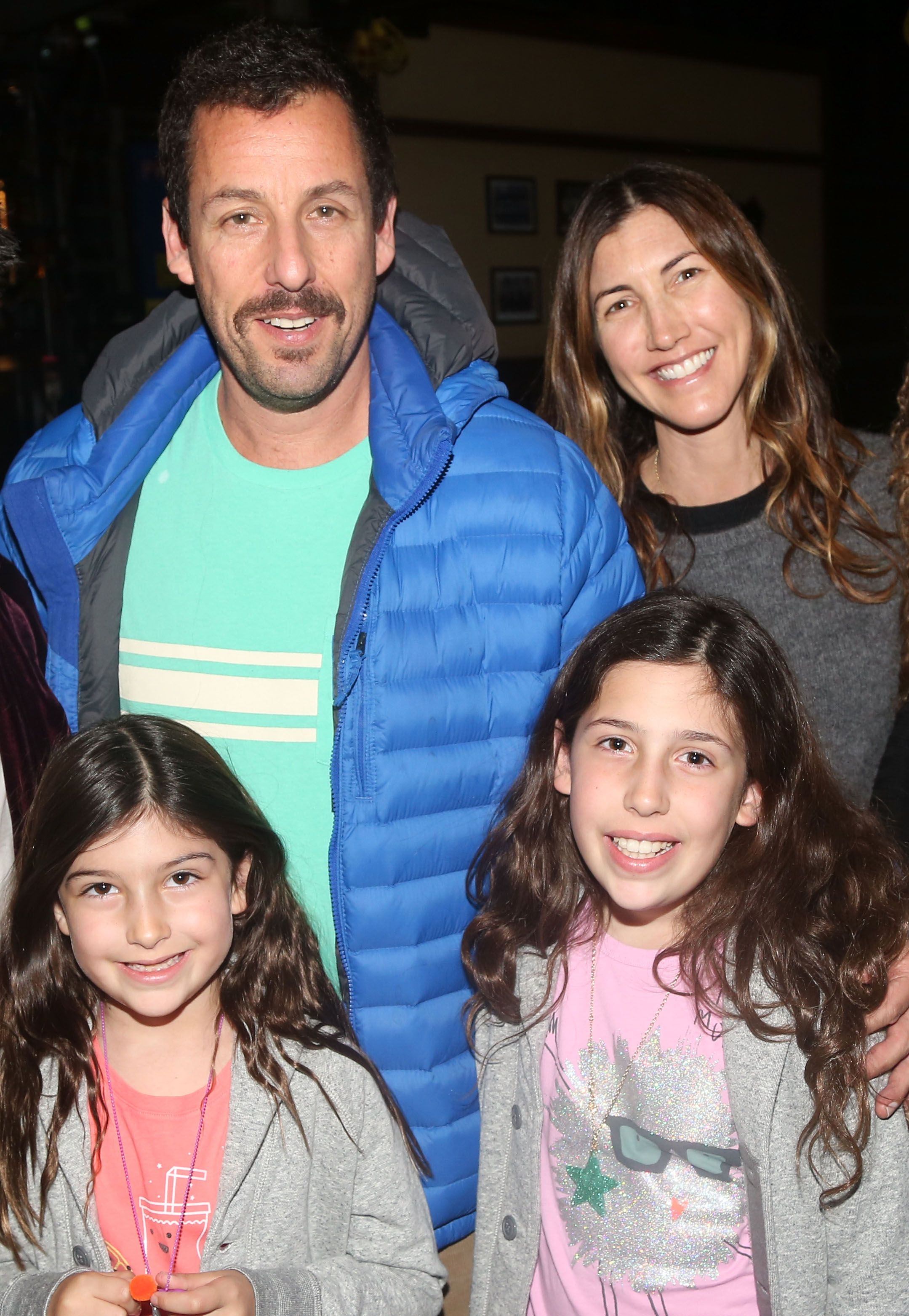 "Adam Sandler with daughters Sunny and Sadie Sandler, and wife Jackie Sandler backstage at the hit musical ""School of Rock"" in 2016 in New York City 