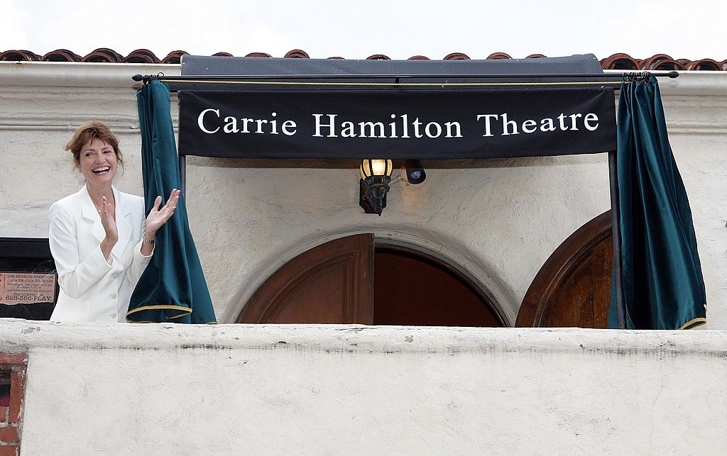 Martha Williamson, a board member with the Pasadena Playhouse, dedicates the Carrie Hamilton Theatre | Getty Images
