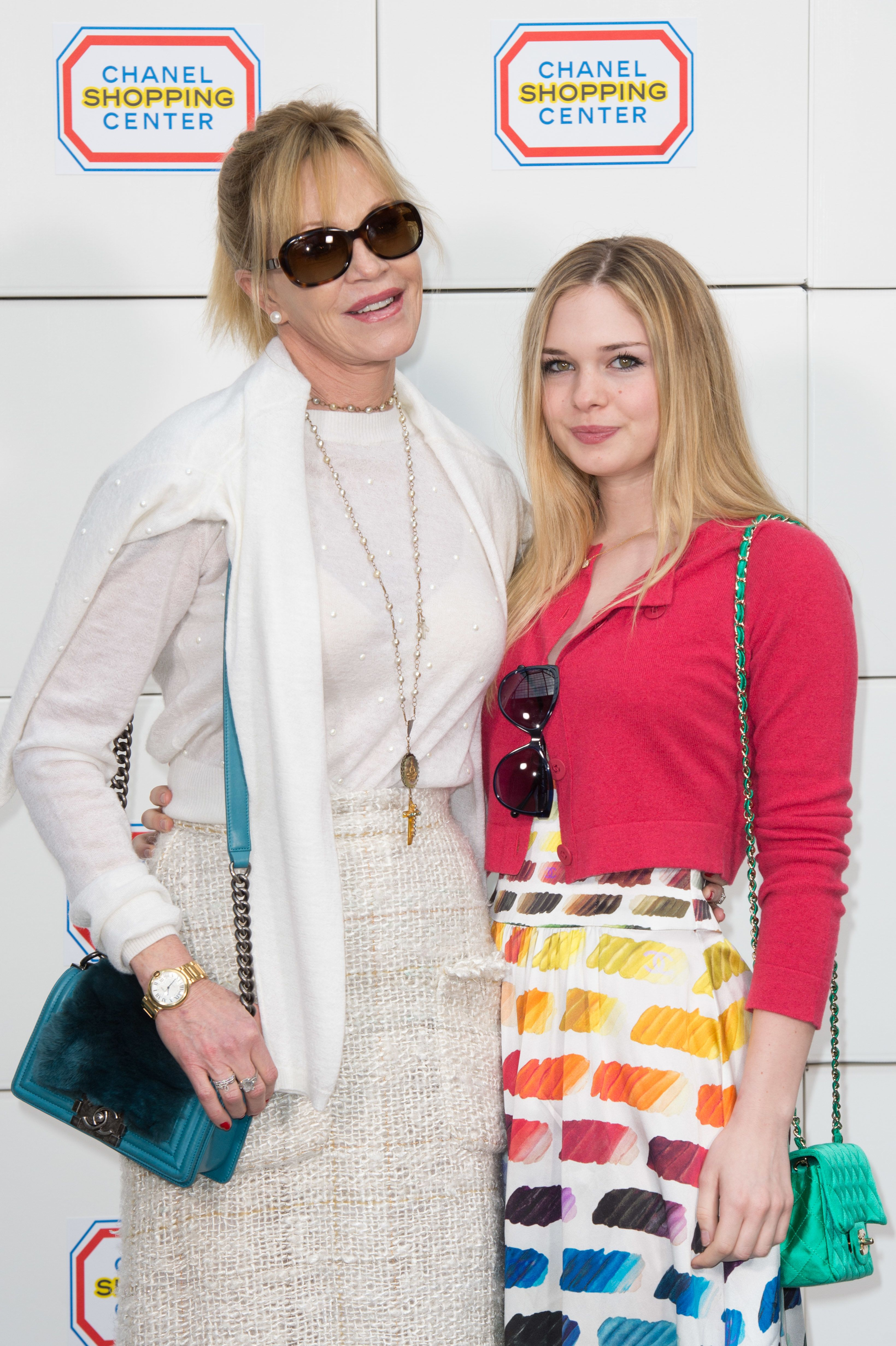 Melanie Griffith and daughter Stella Banderas at the Paris Fashion Week Womenswear Fall/Winter 2014-2015, in Paris   Source: Getty Images